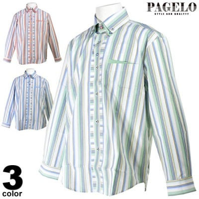 パジェロ PAGELO 長袖ボタンダウンシャツ メンズ 2020春夏 ストライプ柄 03-1105-07