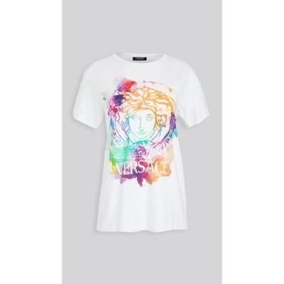 ヴェルサーチ Versace レディース Tシャツ トップス T-Shirt Donna Bio Bianco Ottico