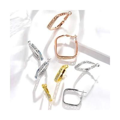 Viennois 2インチのファッションフープピアス、ローズゴールドメッキフープピアス、レディース、ガールズ敏感な耳用(ローズゴールド/シル