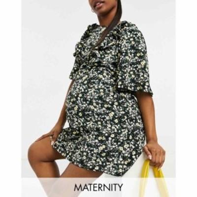 ファッション ユニオン マタニティー Fashion Union Maternity レディース ワンピース ミニ丈 Mini Dress With Ruffle Sleeve In Ditsy F