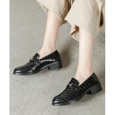 【シュークロ】 ビット付オックスフォードローファー レディース ブラッククロコ LL Shoes in Closet