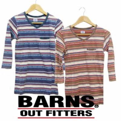 バーンズ BARNS ジャガードボーダー7分袖Tシャツ 無地Tee br-4440