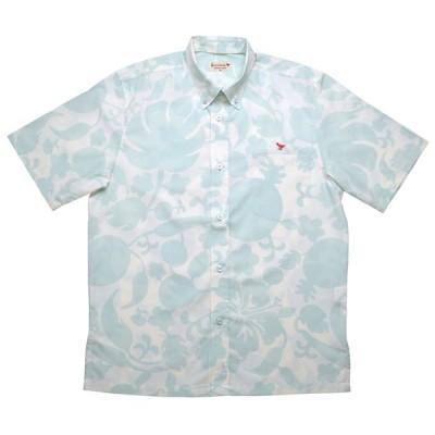 かりゆしウェア(沖縄アロハシャツ)メンズ KUINA ヤンバルパーティー ボタンダウン ビジネスフィット オフグリーン