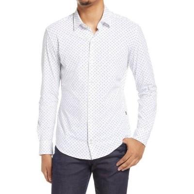 ヒューゴ ボス BOSS メンズ シャツ トップス Robbie Slim Fit Knit Button-Up Shirt White