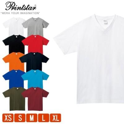 Tシャツ メンズ 無地 レディース 半袖 厚手 Vネック プリントスター(Printstar) 5.6オンス 00108