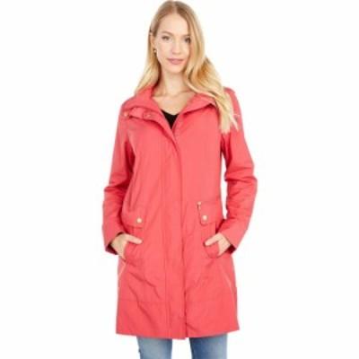 コールハーン Cole Haan レディース レインコート アウター 34 1/2 Single Breasted Rain Jacket with Removable Hood Red