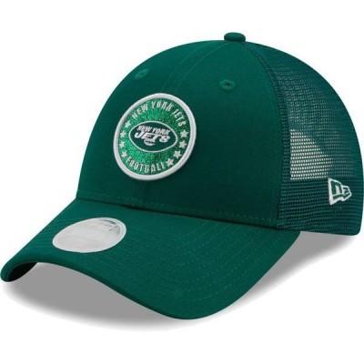 ニューエラ レディース 帽子 アクセサリー New Era Women's New York Jets Green Sparkle Adjustable Trucker Hat