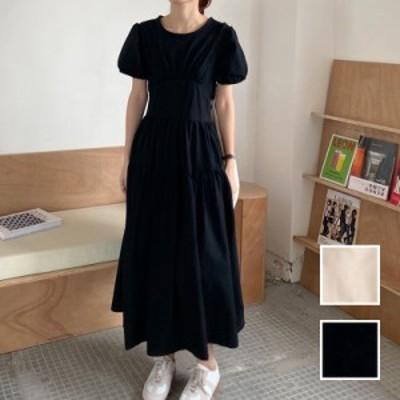 韓国 ファッション レディース ワンピース 春 夏 新作 カジュアル naloJ990  バックリボン 背中見せ ティアード マキシ シンプル コーデ