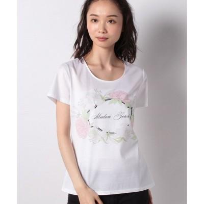 【マダム ジョコンダ】【洗える】 コットン天竺 ボタニカルフラワーロゴプリントTシャツ