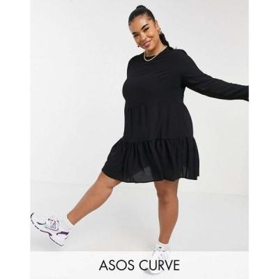 エイソス ドレス 大きいサイズ レディース ASOS DESIGN Curve long sleeve tiered smock mini dress in black エイソス ASOS ブラック 黒