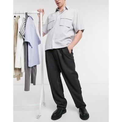 エイソス メンズ カジュアルパンツ ボトムス ASOS DESIGN high waist balloon smart pants in charcoal
