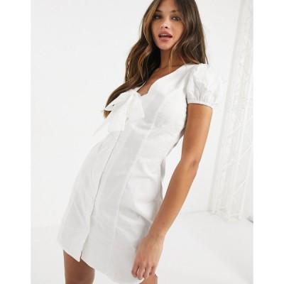 ラスーラ ミディドレス レディース Lasula puff sleeve mini dress with oversized bow in white エイソス ASOS ホワイト 白
