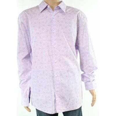 Paisley  ファッション アウター Tasso Elba NEW Purple Mens Size Large L Paisley Print Button Down Shirt