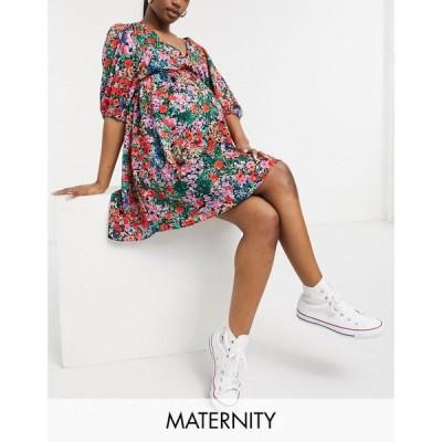 トップショップ マタニティー Topshop Maternity レディース ワンピース ミニ丈 ワンピース・ドレス Volume Sleeve Mini Dress In Multi マルチカラー