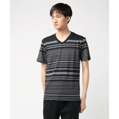 tシャツ Tシャツ ランダムボーダープリントVネック半袖Tシャツカットソー