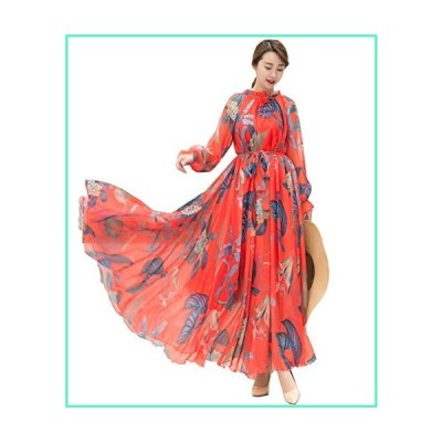 MedeShe Women's Long Sleeve Floral Holiday Beach Bridesmaid Maxi Dress Sundress (Red Tropical, XS/S)並行輸入品