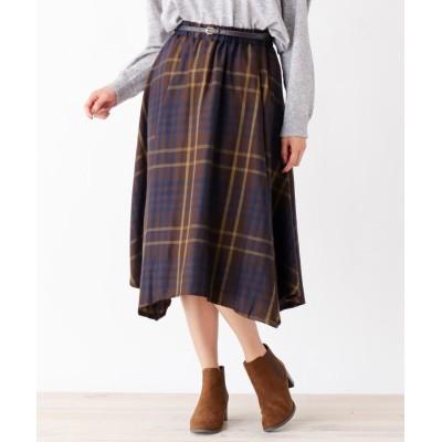 SHOO・LA・RUE/DRESKIP(シューラルー/ドレスキップ) 合皮ベルト付イレギュラーヘムスカート
