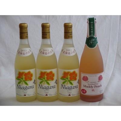 ワインセット 国産ワイン4本セット 完熟ナイアガラ(ナイヤガラ)×3本 マディピーチ(桃)×1本  (北海道 山梨県) 720m