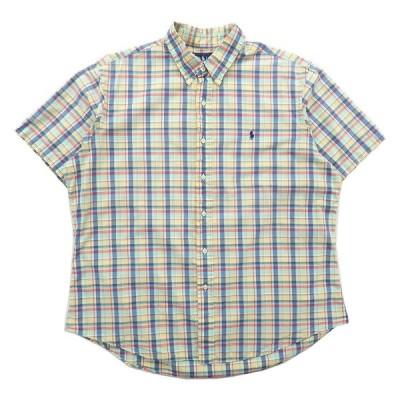 古着 ラルフローレン Ralph Lauren ボタンダウンシャツ 半袖シャツ チェック マルチカラー サイズ表記:XL