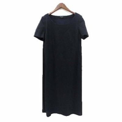 【中古】ベラルディ BERARDI ワンピース 4 XL 紺 ネイビー リネン混 半袖 ミモレ丈 無地 シンプル レディース