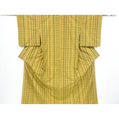 宗sou 未使用品 格子織出手織り節紬着物【リサイクル】【着】