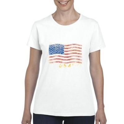 レディース 衣類 トップス Womens American Flag USA Short Sleeve T-Shirt Tシャツ
