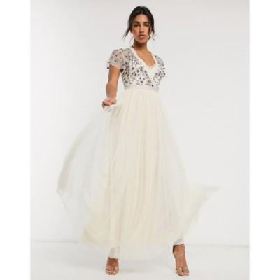 ニードルアンドスレッド レディース ワンピース トップス Needle & Thread embellished maxi dress with tulle skirt in cream