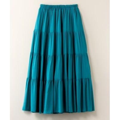 スカート ひざ丈 大きいサイズ レディース ティアード JINTY アカ/グリーン/クロ 4L/5L ニッセン