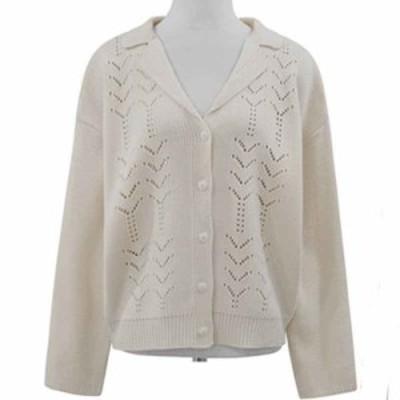 かぎ編み 上品 レース 襟付き ゆったり シンプル 長袖 ショート丈 ニットカーディガン オルチャン デート お呼ばれ