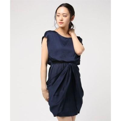 ドレス ケープデザインワンピース(光沢素材ウエストゴム入りラウンドネックドッキングドレス)
