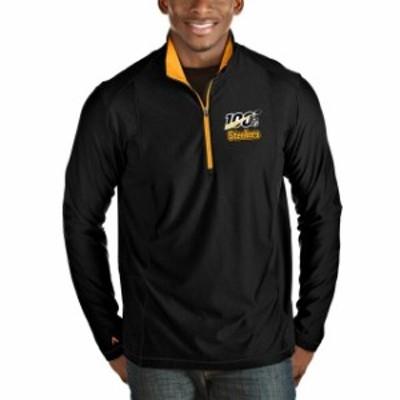 Antigua アンティグア アウターウェア ジャケット/アウター Antigua Pittsburgh Steelers Black/Gold NFL 100 Tempo Half-Zip Pullover J