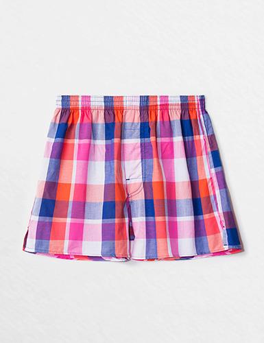(男款)格紋控.平織舒適四角內褲(白/桔/藍/粉格)