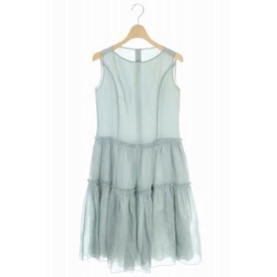【中古】フォクシー 19年製 ドレス フレンチシアー ワンピース ひざ丈 ノースリーブ 40 ミントグリーン レディース
