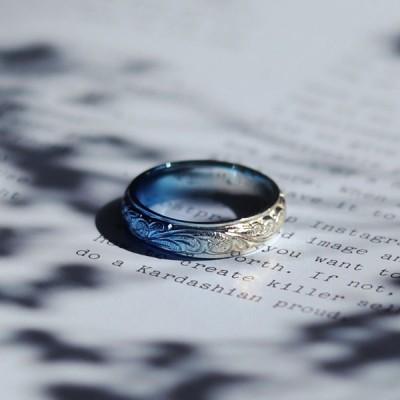 『laki+』ラキタス ハワイアンリング ブルーグラデーション 指輪 メンズ レディース ハワイアン シンプル ステンレス ペアリングに