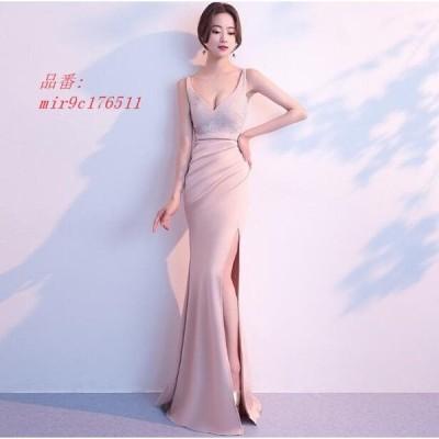 ワンピース 二次会 ドレス イブニングドレス 大きいサイズ ウェディングドレス セックシー きれいめ 結婚式ドレス Vネック 可愛い 演奏会 レディース