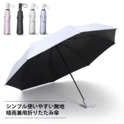 折りたたみ傘晴雨兼用3段折り手動傘8本骨雨傘日傘撥水遮光無地使いやすいシンプルカラバリ男女兼用ギフトプレゼント春新作