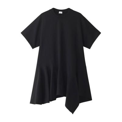 REKISAMI レキサミ コットンアシメトリーヘムフレアTシャツ レディース ブラック 1