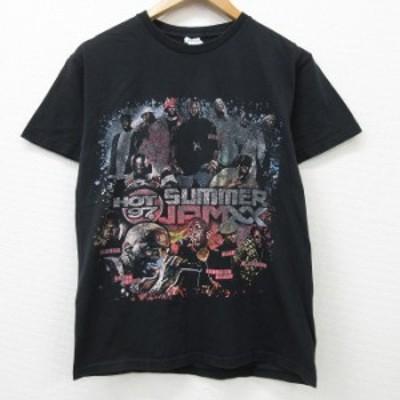 古着 半袖 ヒップホップ ラップ Tシャツ HOT97 SUMMERJPMXX ファボラス ジョーバドゥン コットン クルーネック 黒 ブラック Mサイズ 中古