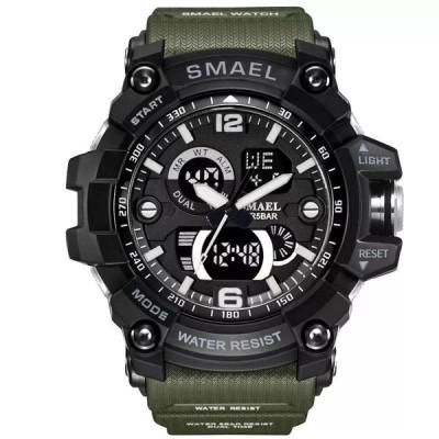 Smael男性 ミリタリー 腕時計 50メートル防水 腕時計 LED クォーツ時計男性relogios masculino 1617デジタルスポーツ 腕時計 メンズ