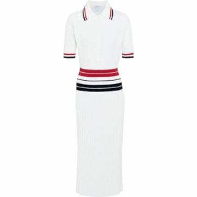トム ブラウン Thom Browne レディース ワンピース ミドル丈 ワンピース・ドレス cotton-blend midi dress White