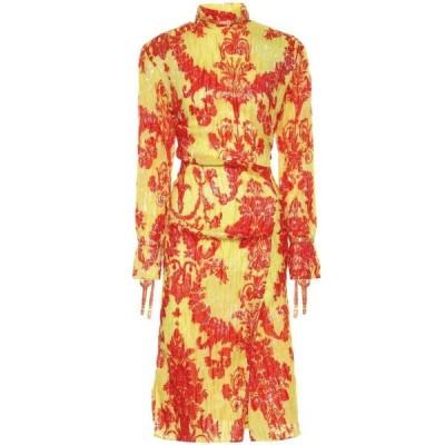アクネ ストゥディオズ Acne Studios レディース ワンピース ミドル丈 ワンピース・ドレス Printed silk-blend midi dress Yellow/Red