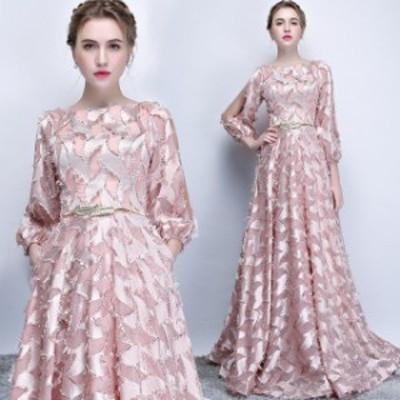 セクシーワンピ 袖ありAライン   カラードレス パーティー ロングドレス  大きいサイズ 結婚式 イブニングドレス 着痩せ 忘年会 X0174
