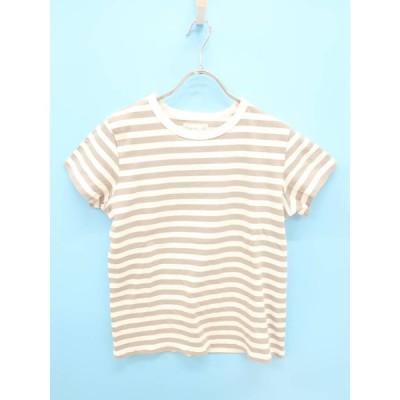 agnes b.(アニエスベー)ボーダーTシャツ フレンチスリーブ グレー/白 レディース Aランク TS