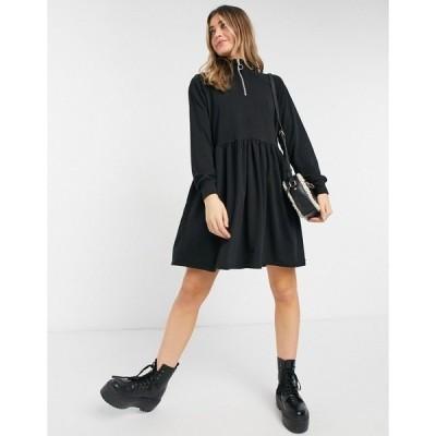 ニュールック レディース ワンピース トップス New Look zip high neck sweatshirt dress in black Black