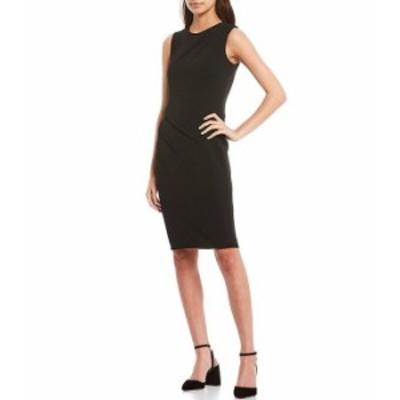 カルバンクライン レディース ワンピース トップス Sleeveless Crepe Side Seam Detail Sheath Dress Black