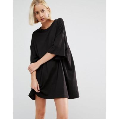 ウィークデイ ミディドレス レディース Weekday Huge T-Shirt Dress エイソス ASOS ブラック 黒 日本未入荷 新作 人気 ミディアム インポート ミスユニバース