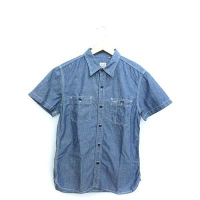 【中古】ザ フラットヘッド THE FLAT HEAD グローリーパーク GLORY PARK シャンブレー ワークシャツ 半袖 トップス ブルー 38 メンズ 【ベクトル 古着】