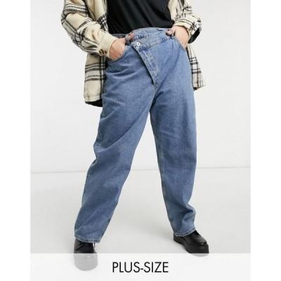 コルージョン Collusion レディース ジーンズ・デニム ワイドパンツ COLLUSION Plus x014 90s baggy dad jeans with stepped waistband in cowboy blue wash