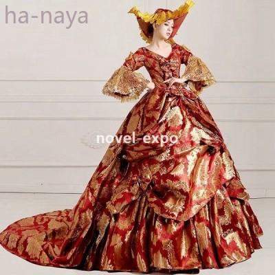 お姫様カラードレス刺繍ロングドレスレディース豪華なドレスワンピース中世貴族風プリンセスラインステージ衣装舞台衣装用王族服オペラ声楽福袋