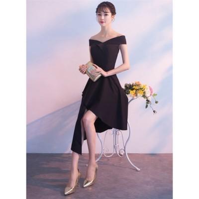 ウェディングドレス ショートドレス パーティードレス 10代 20代 30代 ワンピース おしゃれ フォーマル お呼ばれ カラードレス ワンピ ミニドレス[ブラック ]